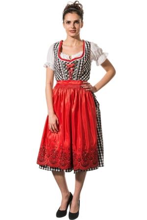 Abito folkloristico medio GERLINDE - quadretti grandi nero-bianco/rosso