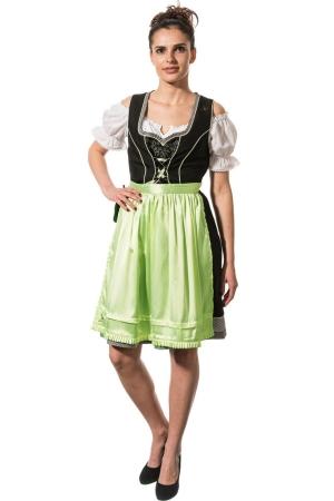 Kurzes Dirndl HELENE - schwarz/apfelgrün