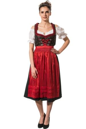 Abito folkloristico medio LILIANE - verde abete/rosso