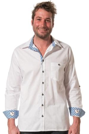 Trachtenhemd KARL - weiß/königsblau-weiß klein kariert