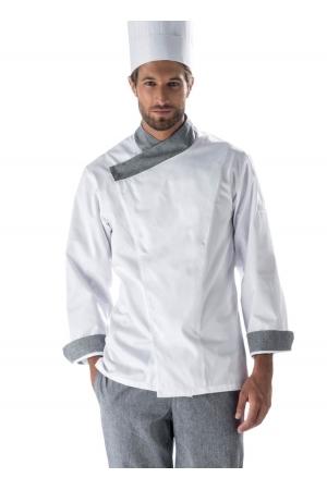 Kochjacke NICOLAS - weiß mit grauem Profil