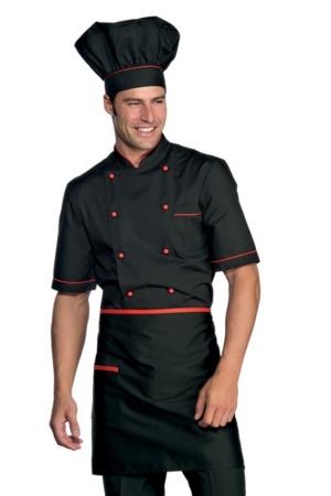 Halbschürze VITA - schwarz mit rotem Profil