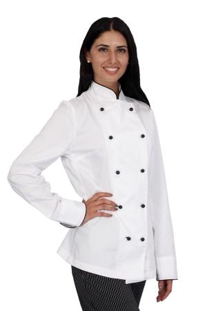 Kochjacke LADY GRANCHEF - weiß/schwarz