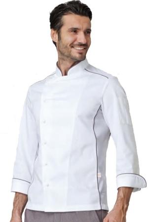 Kochjacke ADRIAN - weiß/taubengrau
