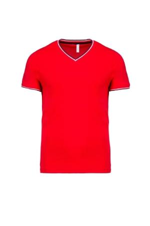 Herren T-Shirt Piqué V-Neck K374 - red/navy/white