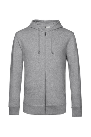 Herren Bio Kapuzen Sweatjacke B&C U-35B - heather grey