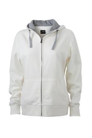 Damen Kapuzen Sweatjacke JN 962 - weiß/grau melange
